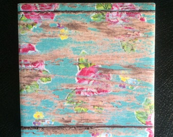 Floral Tile/Floral Decorative Tile/Floral Coaster/Rustic Floral/Tile/Coaster/Handmade/Trending/Patterned Tile/Patterned Coaster/Rustic