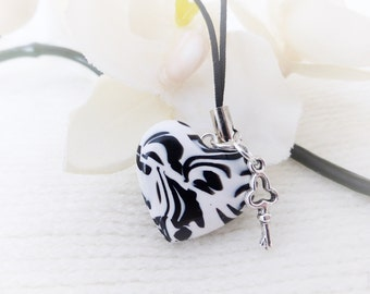Black and White Heart Charm, Zebra Print, Polymer Clay, Charm Cord