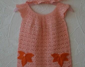 Handmade crochet baby dress and heart cotton 100% size 1-1.5 years