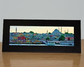 Istanbul Art, Ready to Hang Canvas or Framed Canvas, Panoramic, Eminonu Waterfront, Boats, Colorful Boats, Istanbul, Turkey, Colorful Harbor