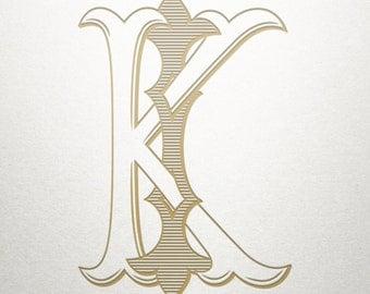 Interlocking Monogram Design - IK KI - Interlocking Monogram - Vintage