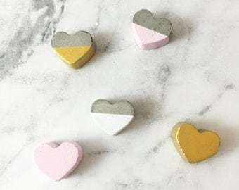 Hand Made Personalized Concrete Love Hearts - Concrete dipped with your choice of colour