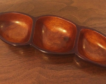 Vintage Carved Wooden Three-Section Serving Dish