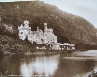 Kylemore Castle Connemara postcard / unposted / real photo postcard / Sepia castle postcard
