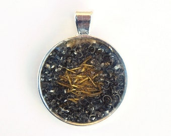 """Unique Pendant """"Circles"""", Mixed Media, Necklace Pendant, Silver Gold, Metal Brass Steel, Charm, Extraordinary Amulet, Jewelry Jewellery"""