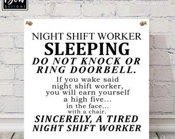 Night shift worker sign, nurses, sleeping, do not disturb, plaque
