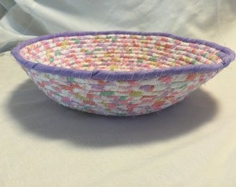 Large multi-pastel colored fabric coiled basket
