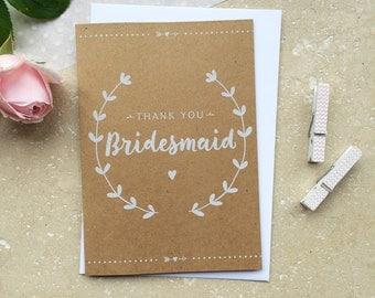 Rustic Bridesmaid Thank You Card