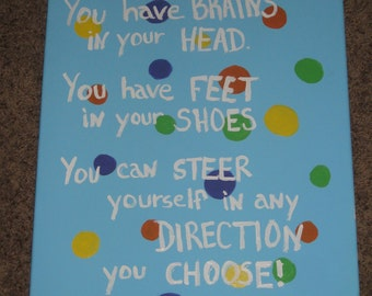Dr. Seuss Oh the Places you'll go canvas painting wall decor