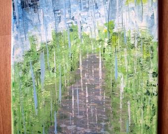Acrylic painting painting summer rain abstract rain bright 30 x 24 cm original