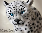 Handmade Needle Felted Wool Animal Sculpture Snow Leopard: Ghost
