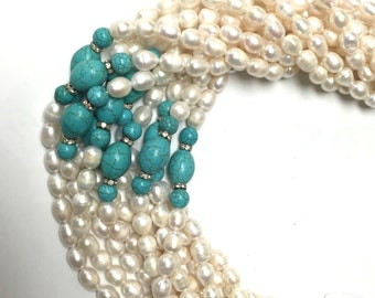 Freshwater Pearl Natural Pearl Cultured Pearl Rice Shape with Turquoise 9-10mm 17'' Per Strand