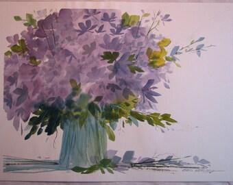 SALE Original flower bouquet watercolor painting purple flowers violet flowers, #28