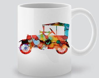 Retro Car Mug - Art Mug - Coffee Mug - Tea Mug - Printed Ceramic Mug - Watercolor Automobile Illustration - Gift Idea