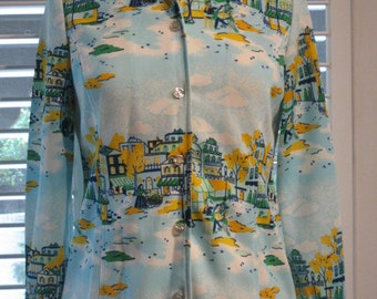 Double Knit Polyester Blouse With Village Scene Vintage 1970s