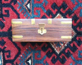 Wooden and Brass Vintage jewelry box