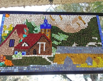 Creating mosaic 60 x 30 glass glazing. Hand made