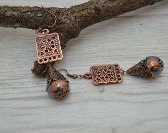 Greek Ceramic teardrop earrings, Beaded earrings, Copper earrings, bohemian dangle earrings, women earrings, drop earrings, stud earrings