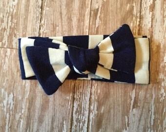 Navy and White Striped Bow Tie headband