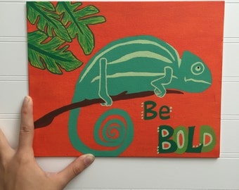 "Chameleon nursery/kids room canvas ""Be Bold"""