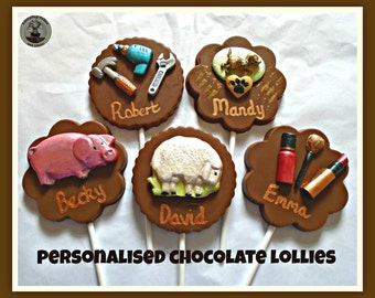 Personalised Chocolate Lollipop/Named Gifts/Edible Family Gift/Brother/Sister/Mum/Dad/Relatives/Personalised Birthday/Named Chocolate Gift