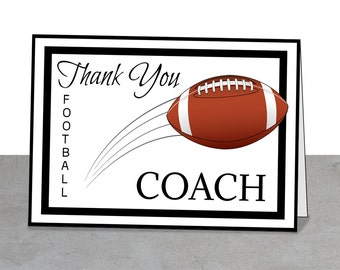 Football Coach Thank You Card, PRINTABLE, 5 x 7 card, Team Thank You Card, Football Coach Thank You