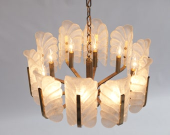 Murano Glass by Barovier and Toso Acanthus Leaf 10 light Chandelier / Mid Century / Hollywood Regency