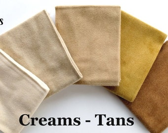 Creams & Tans FLANNEL Fat Quarter Bundle Moda Fabric + BONUS  2 Quilt Patterns