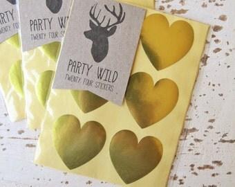 Metallic Gold Heart Stickers Pk24 3.8cm