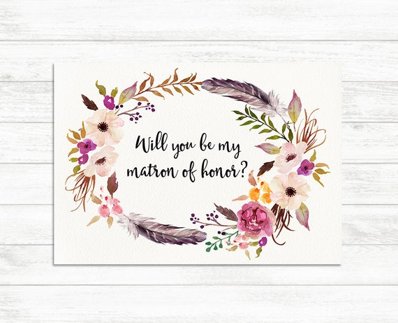 Will You Be My Matron Of Honor Card Floral Rustic Matron Of