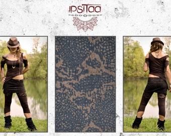 Skirt short lycra printed snake Bohemian SAJI ethnic roots trance