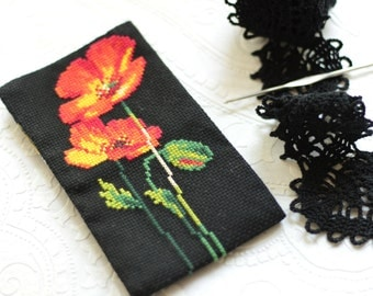 Crochet hook case Knitting Needle case pouch Knitting needle storage bag Poppy needle organizer Travel crochet wallet Socks needles case