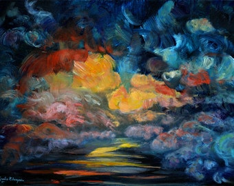 Into the Horizon, Water Abstract Painting, Original Acrylic Painting, Seascape, Dark Water, Hope, Modern Art, 18 x 24, Mist, Clouds on Water