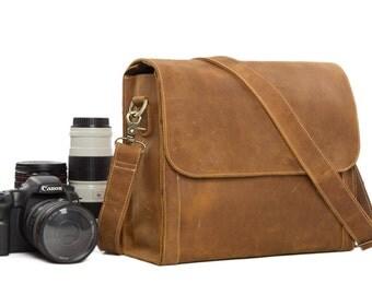 SALE Handmade Vintage Genuine Leather DSLR Camera Bag SLR Camera Bag Leather Camera  Bag