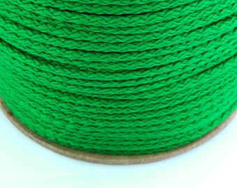 5, 10, 100 meter polyester cord 4mm grass green