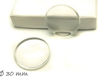 Clear 30 mm glass cabochons round 10 PCs