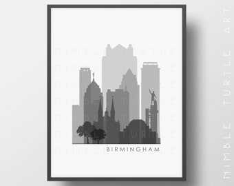Birmingham Alabama Skyline Printable Download  -  Black and White  -  Grayscale - Birmingham Gallery Wall Art