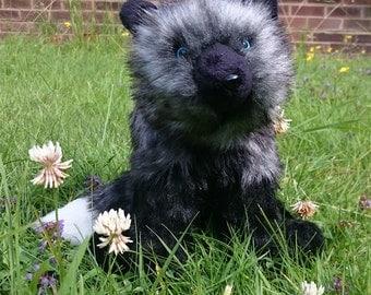 Poseable silver fox plush