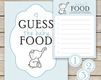 Blue Elephant Baby Shower Guess the Baby Food Game - Printable Download - Blue Boy Baby Shower Game