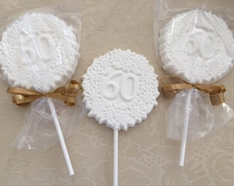 """Number """"60"""" Chocolate Lollipops(12 qty)-60th Birthday Party - 60th Anniversary Party - 60th Celebration - Number 60 Party Favor/Party Favors"""