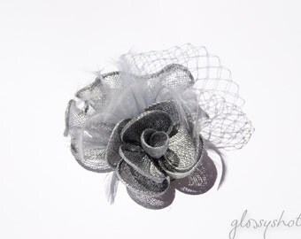 Siver Classic Flower Fascinator  Clip and Brooch