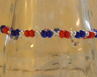 Patriotic Memorial Day/4th of July Bracelet Red Blue Silver