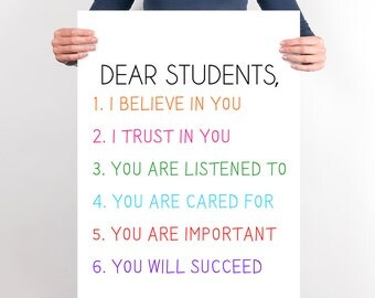 Large Classroom Printable Poster Wall Art Classroom Decor New Teacher Gift Classroom Decor Colorful Dear Students Motivational Poster Happy