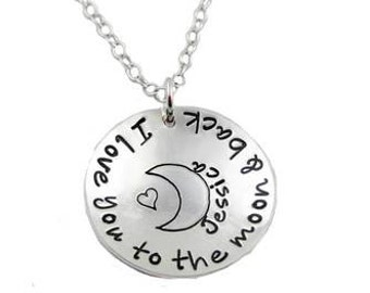 Love You To The Moon And Back Necklace With Name {Sterling Silver}