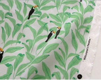 Tropical, Toucan patterned Fabric made in Korea by Half Yard