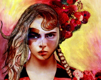 Mixed Media Print INSTANT DOWNLOAD Digital Print Girl Portrait With Flowers Dreaming