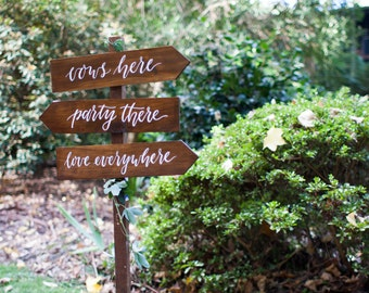 Rustic Wedding Directional Signs. Wedding Reception Ceremony Signs. Set of 3.