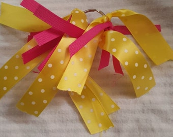 Pink and Yellow Polka Dot Keychain