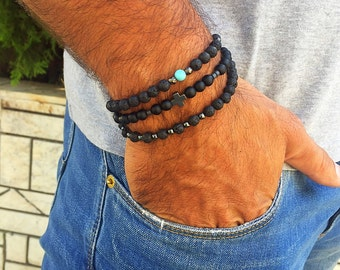 Men's Bracelet, Black Beads Bracelet, Men's Jewelry, Made in Greece, by Christina Christi Jewels.