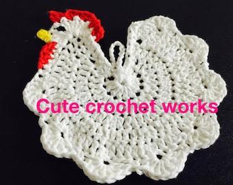 Crochet Potholder- Chicken potholder-Handmade-great for gifts-Cotton potholder-kitchen-potholder